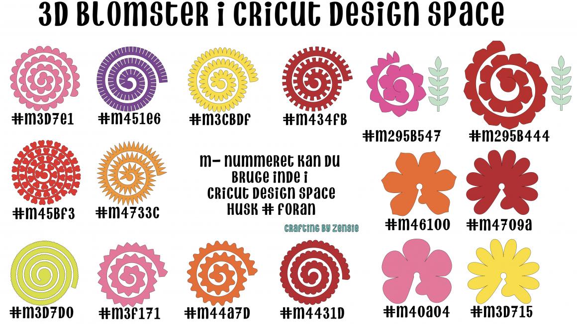 Blomster på Cricut Maskine – Cheatsheet